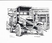 Model T Truck And Mobil Gas Station Pen And Ink Print
