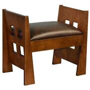 Crafters And Weavers Mission Style Oak And Leather Foot Stool - Model A31