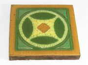 Grueby Pottery Faience 8 X 8 Circle Design Tile Arts And Crafts Matte Green