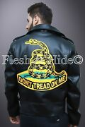 Menand039s Donand039t Tread On Me Rattle Snake Double Rider Biker Motorcycle Jacket