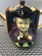 """H J Wood Toby Teapot 5"""" Tall Two Faces Burslem England Very Good Condition"""