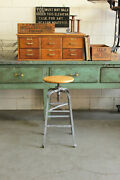 Vintage Industrial Angle Steel Stool Co Machine Age Drafting Chair Factory Maple