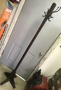 Tall Original Early Antique Oak Arts And Crafts Hall Tree Hat Coat Rack