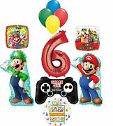 Super Mario Brothers Party Supplies 6th Birthday Balloon Bouquet Decorations