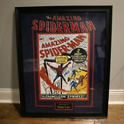 Large Stan Lee Autographed Poster Spiderman Museum Framed And Matted Jsa Coa