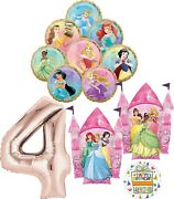 Disney Princess Party Supplies 4th Birthday Balloon Bouquet Decorations With ...