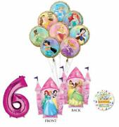 Disney Princess Party Supplies 6th Birthday Balloon Bouquet Decorations With ...