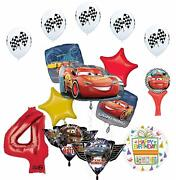 Cars Lightning Mcqueen And Friends 4th Birthday Party Supplies Balloon Bouque...