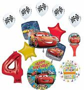 Cars Lightning Mcqueen 4th Birthday Party Supplies Sing A Tune Balloon Bouque...