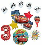 Cars Lightning Mcqueen 3rd Birthday Party Supplies Sing A Tune Balloon Bouque...