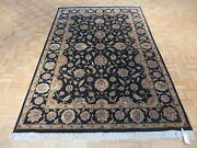 6'1 X 9'2 Hand Knotted Black Agra With Silk Oriental Rug G1746