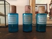 Set 3 Antique French Apothecary Pharmacy Blue Jars Bottles Etched Late 19c
