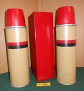 Vintage American Thermos Bottle Co Set With Sandwich Box Corks Cups And Bag