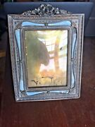Beautiful French Gilt Bronze Blue/teal Guilloche Enamel Picture Frame Wreath