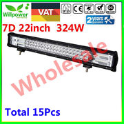 15pcs 7d 22inch 324w Tri Row Led Work Light Bar For Jeep Offroad Car Truck Suv