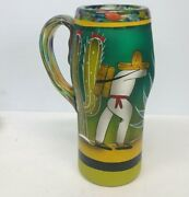 Large Vintage Studio Art Glass Beer Mug Mexican Style Hand Painted 10.25and039and039 Tall