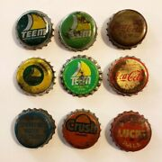 Vtg Bottle Cap Lot Of 9 / Teem / Coca-cola / Old Colony / Crush / Lucky Pale