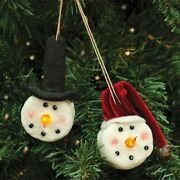 New Primitive Country Set 2 Snowman Lighted Nose Christmas Ornament Candle Light