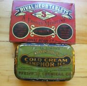Antique Vtg 2 Tins Hobsonand039s Pfeiffer Chemical Co And Rival Herb Tablets Detroit