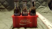 Set Of 6 Miniature 3and039 Glass Coca Cola Soda Pop Bottles In Red Plastic Crate Case