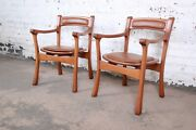 Sculpted Solid Teak And Leather Studio Crafted Club Chairs Circa 1960s