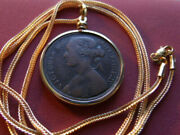 1862 Uk Queen Victoria Finer Penny Coin Pendant And 28 18kgf Foxtail Necklace