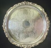 Silver Plate Poole Silver Company Platter Footed Ornate Desert Tray 5731 P1