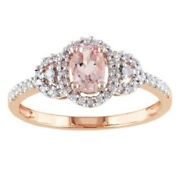 Morganite And 1/6ct Diamond Buckle Wedding Ring In 10k Rose Gold