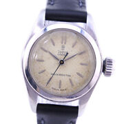 Tudor Rose 7905 Stainless Steel Leather Hand-rolled Womenand039s Watch [b1019]