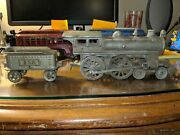 Hubley Cast Iron 4-4-0 Nickel Plated Steam Locomotive And Ideal Tender