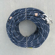 3/8 X 115 Ft. Dacron/polyester Halyard Spliced In S/s Snap Shackle Navy/white