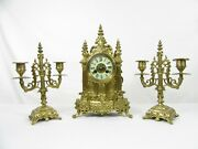 Antique Cathedral French Mantel Clock Garniture Set By Vincenti C1855