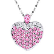 Round Cut Pink Tourmaline And Diamond Heart Pendant Necklace 14k White Gold Over