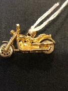 Vintage 14k 3 Dimensional Harley Indian Style Motorcycle Articulated Charm 10 Gr