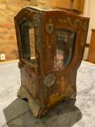 Antique French Tole Sedan Chair And French Bisque Mignonette Doll Late 1800s