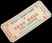 Vintage Rocky Point Park Rhode Island Amusement Park Skee Ball One Coupon Ticket