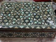 Egyptian Handmade Wood Jewelry Box Inlaid Mother Of Pearl 14.8x9.6
