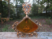 Antique Ornate French Ormolu Perfume Bottle Large Victorian Brass And Amber Glass