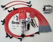 Small Cap Cadillac 390 365 331 Red Hei Distributor + 60k Coil + Spark Plug Wires