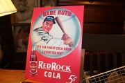 Tin Sign 12-1/2 X 16 Vintage Look Red Rock Cola Babe Ruth Baseball