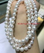 Long Top Luster 3512-13mm Round Real Natural South Sea White Pearl Necklace 14k