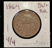 1864 Two Cent Piece, Large Motto, 4 Over 4 Repunch Mostly Brown Sharp Solid Bu++