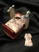Vintage Extrimely Rare Limoges Rochard Peint Main Bed W Nightgown Trinket Box