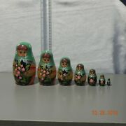 Old Vintage Russian Nesting Dolls Hand Painted Set Of 7