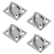 4pcs Heavy Duty 304 Stainless Steel Square Pad Eye Plate Shade Sailboat 6mm