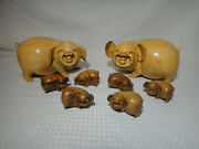 Carved Solid Wood Happy Smiling Pig Family Detailed Mom Dad And 6 Babies Set Of 8