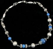 Antique Fine Sterling Silver And Lapis Lazuli Bead Necklace Beautiful Details 16