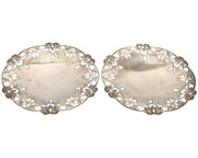 Sterling Silver Lebkuecher And Co Floral Pattern Trays/ Dishes