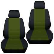 Front Set Car Seat Covers Fits 1998-2020 Subaru Forester Black- Hunter Green
