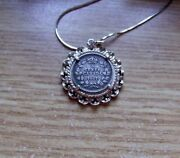 1907 Canada 5 Cents Coin Pendant In Silver Lace + 20 .925 Silver Italy Necklace